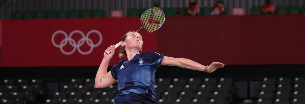 Kirsty Gilmour in action in her women's singles opener