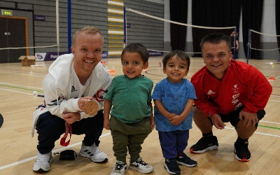 Paralympians Jack Shephard and Krysten Coombs with Jacob and James Barreto